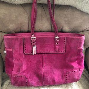 Pink Suede Coach Tote Bag
